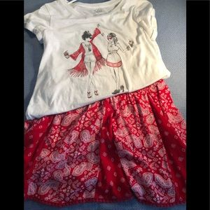 Justice shirt and skirt size 16